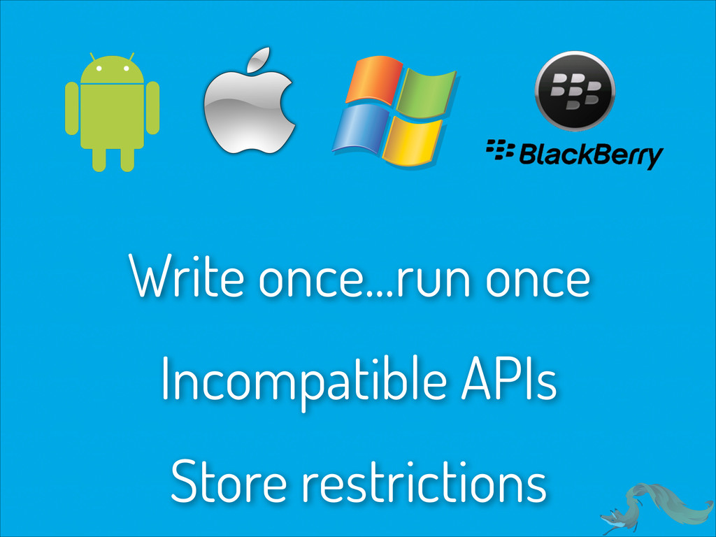 Write once...run once Incompatible APIs Store r...