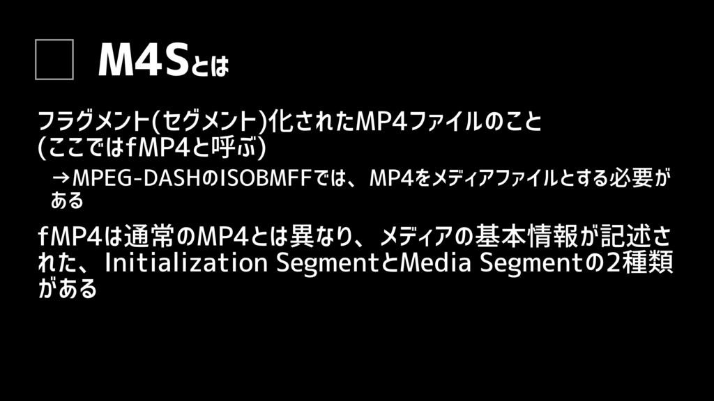 M4Sとは フラグメント(セグメント)化されたMP4ファイルのこと (ここではfMP4と呼ぶ)...