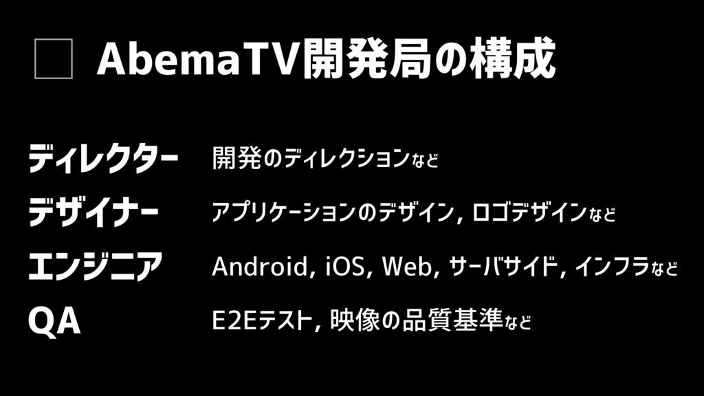 AbemaTV開発局の構成 QA エンジニア E2Eテスト, 映像の品質基準など Androi...
