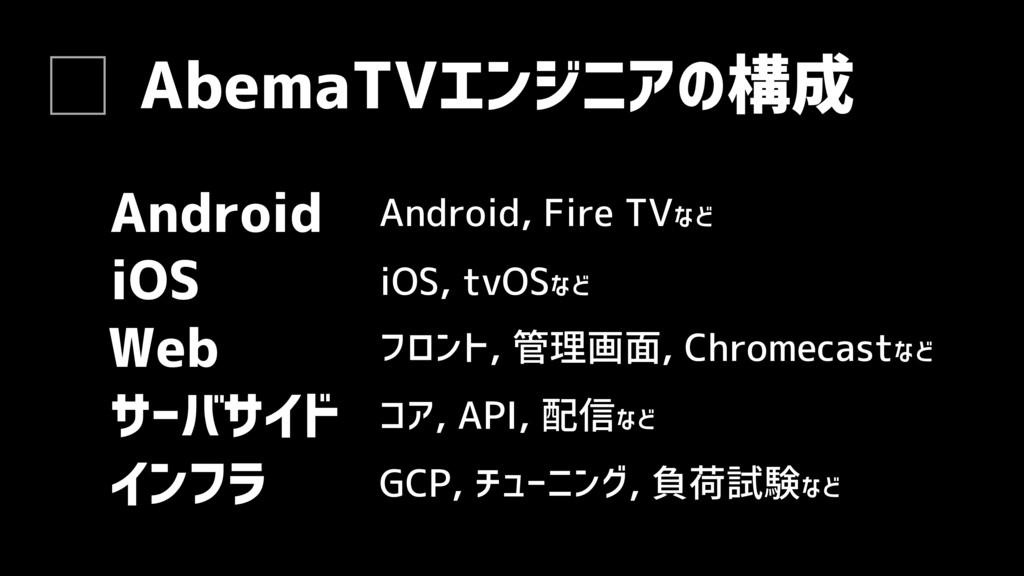 AbemaTVエンジニアの構成 Web サーバサイド フロント, 管理画面, Chromeca...