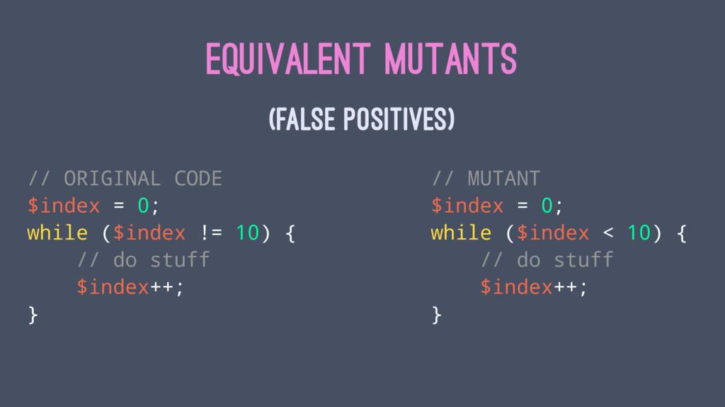 EQUIVALENT MUTANTS (FALSE POSITIVES) // ORIGINA...