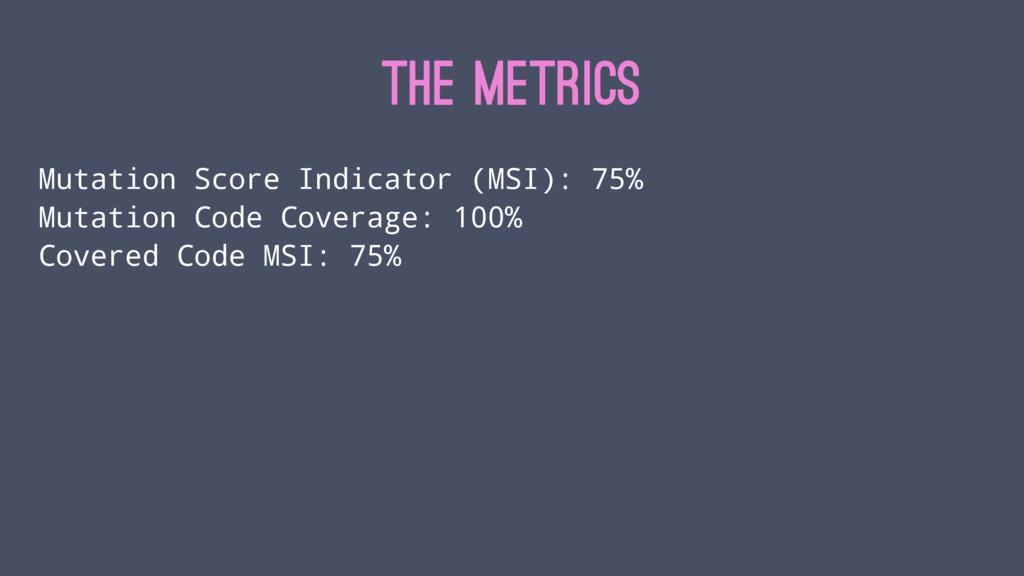 THE METRICS Mutation Score Indicator (MSI): 75%...