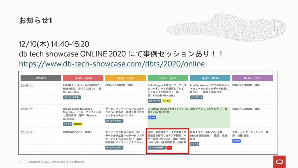 12/10(木) 14:40-15:20 db tech showcase ONLINE 20...