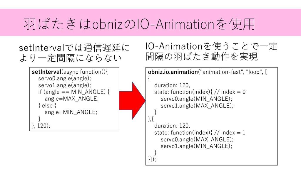 ⽻ばたきはobnizのIO-Animationを使⽤ setIntervalでは通信遅延に よ...