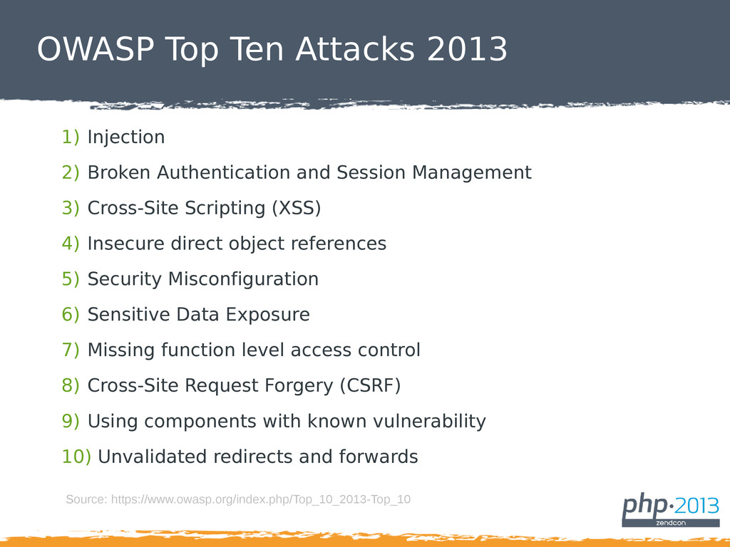 OWASP Top Ten Attacks 2013 1) Injection 2) Brok...