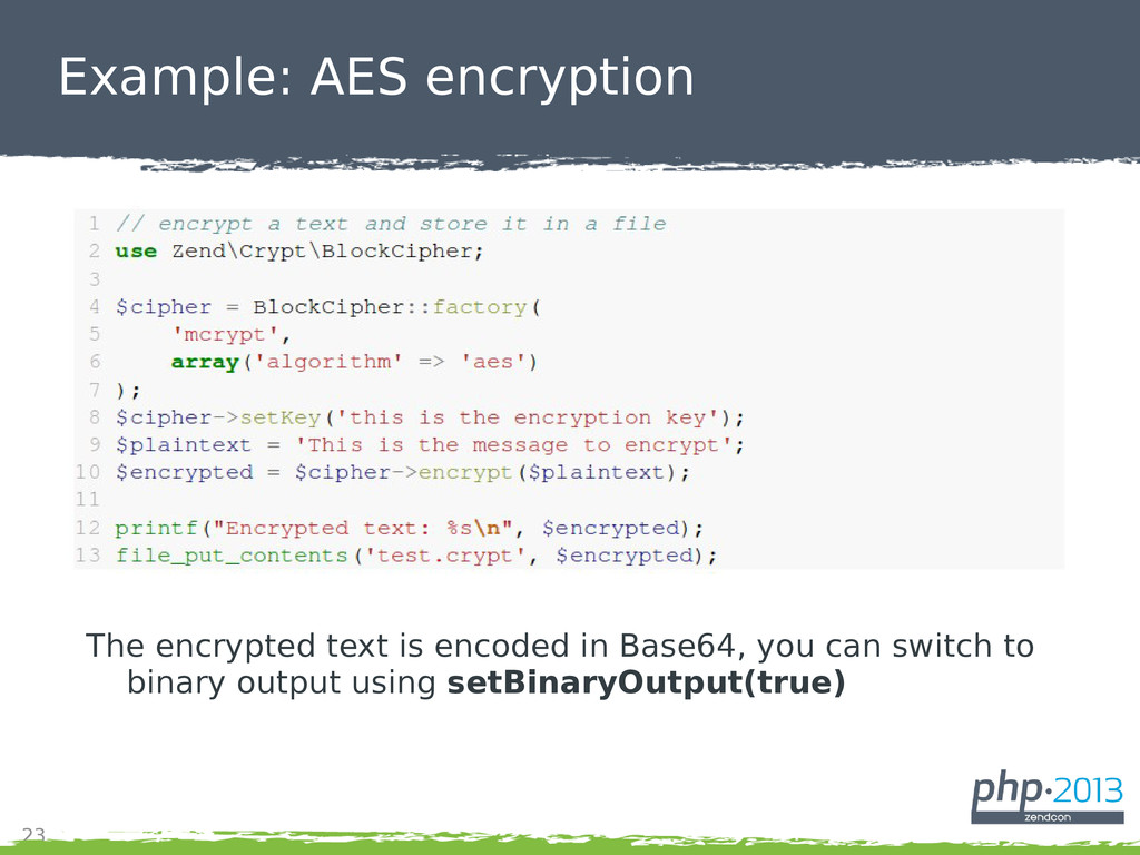 23 Example: AES encryption The encrypted text i...