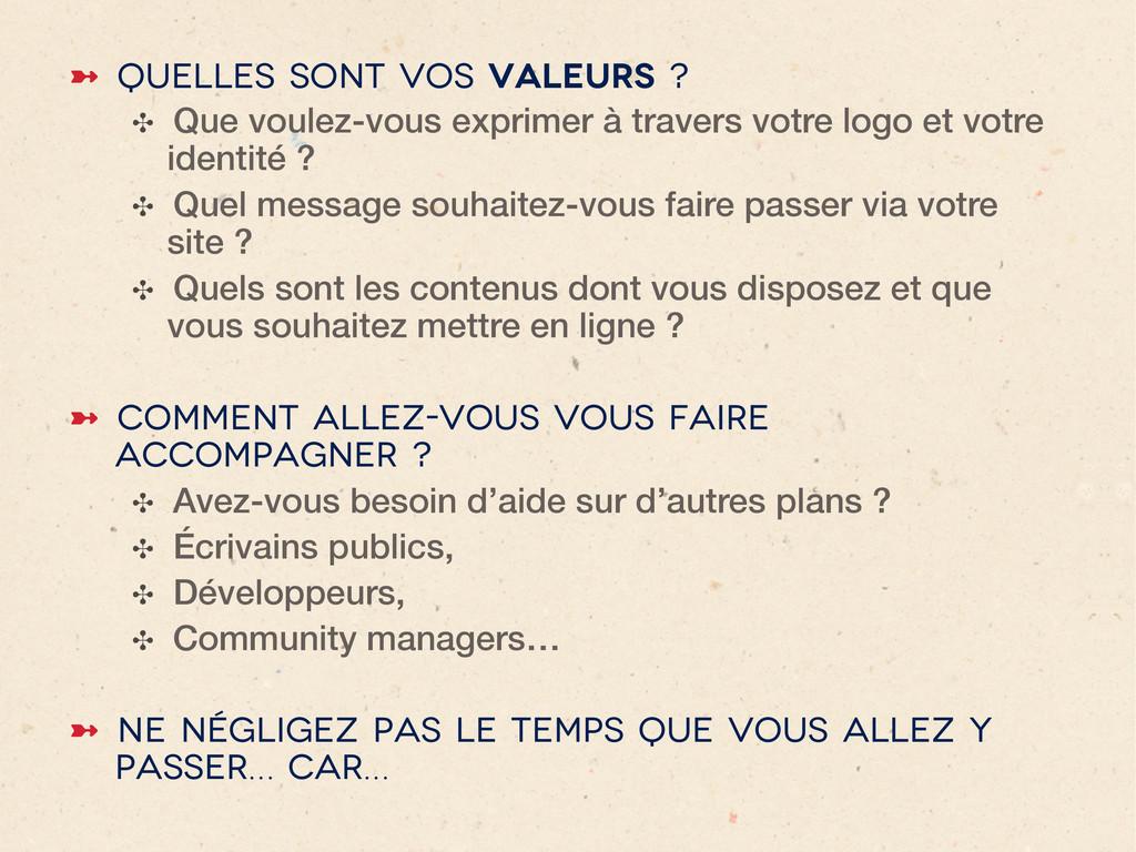 ➼ Quelles sont vos valeurs ? ✣ Que voulez-vou...