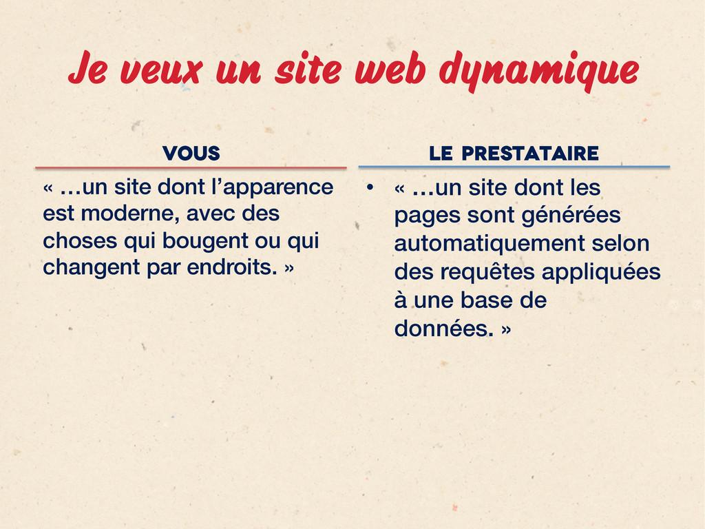 Je veux un site web dynamique vous « …un site ...