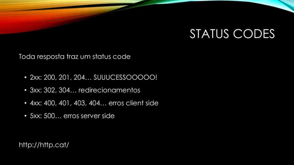 STATUS CODES Toda resposta traz um status code ...