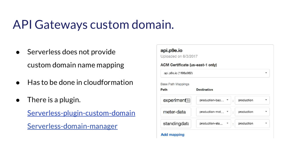 API Gateways custom domain. ● Serverless does n...