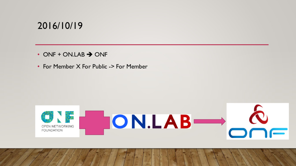 2016/10/19 • ONF + ON.LAB  ONF • For Member X ...