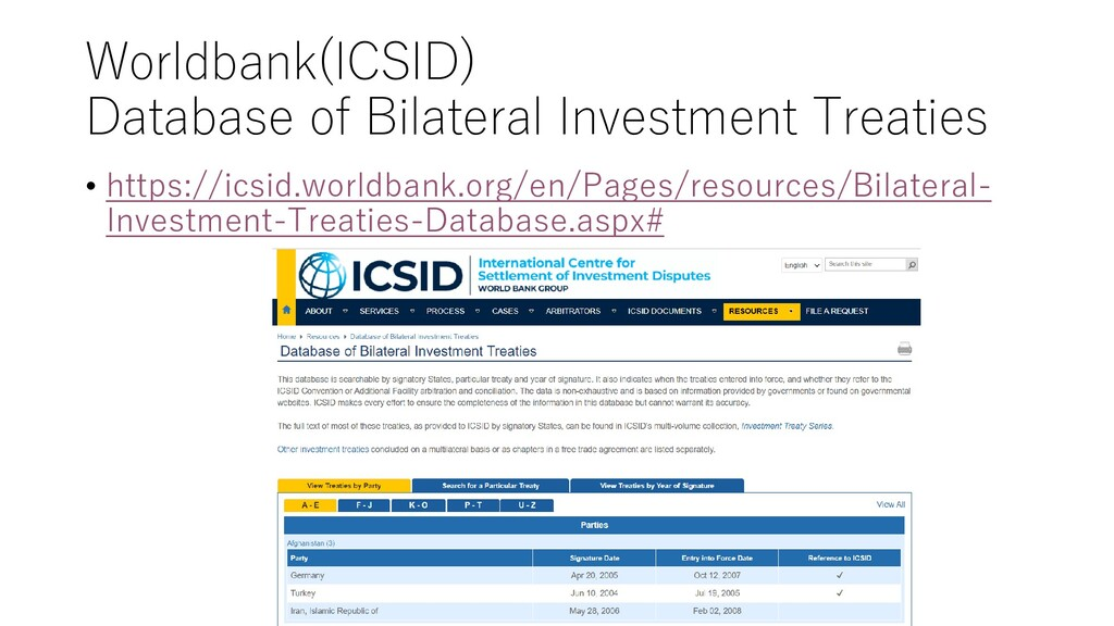 Worldbank(ICSID) Database of Bilateral Investme...