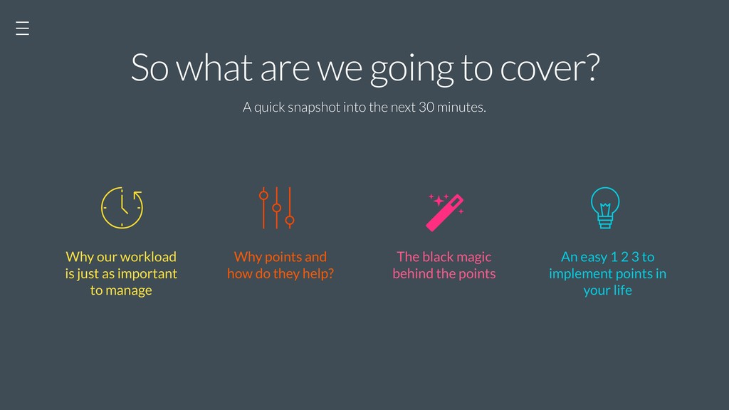 So what are we going to cover? A quick snapshot...
