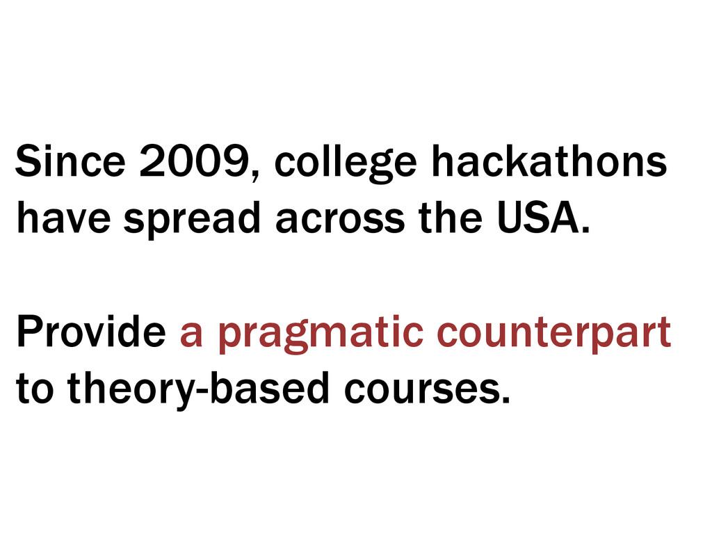 Since 2009, college hackathons have spread acro...