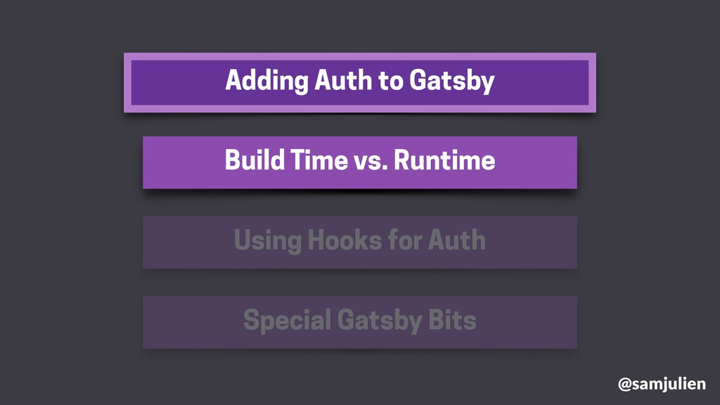 Adding Auth to Gatsby @samjulien Build Time vs....