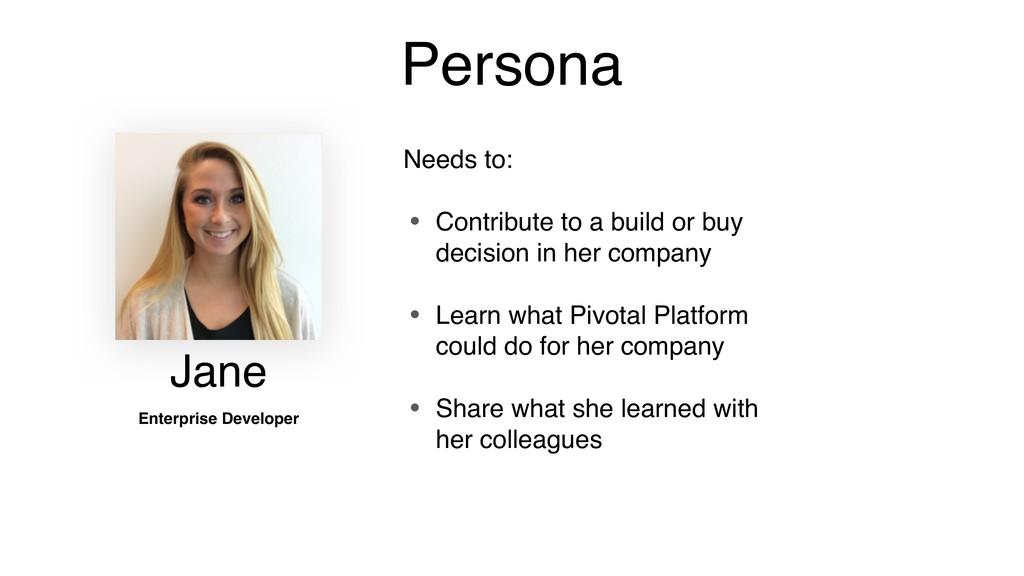 Persona Jane Enterprise Developer Needs to: • C...