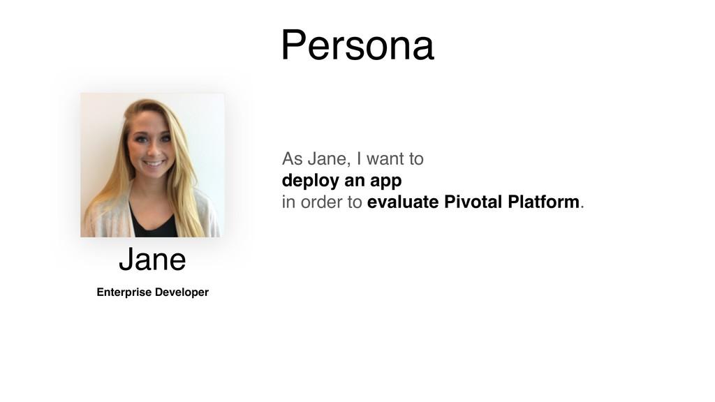 Persona Jane Enterprise Developer As Jane, I wa...