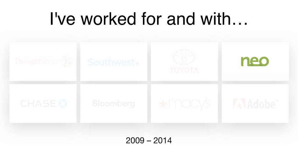 I've worked for and with… 2009 – 2014
