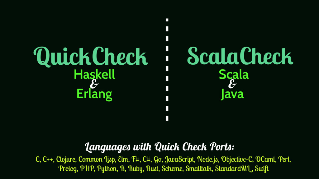 QuickCheck ScalaCheck Haskell Erlang Scala Java...