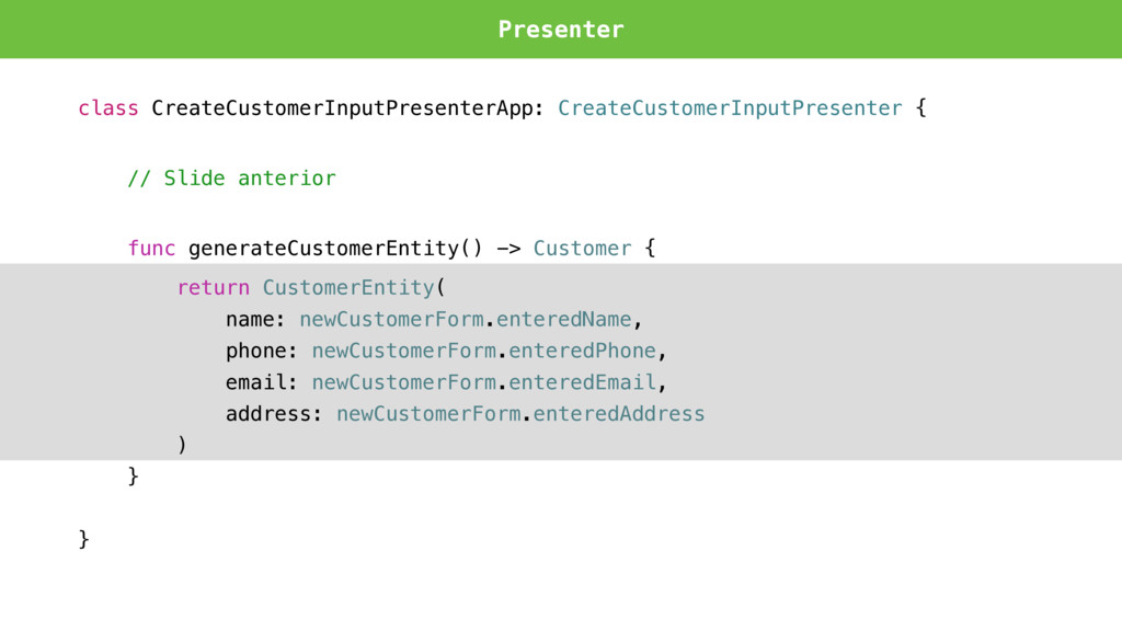 Presenter class CreateCustomerInputPresenterApp...