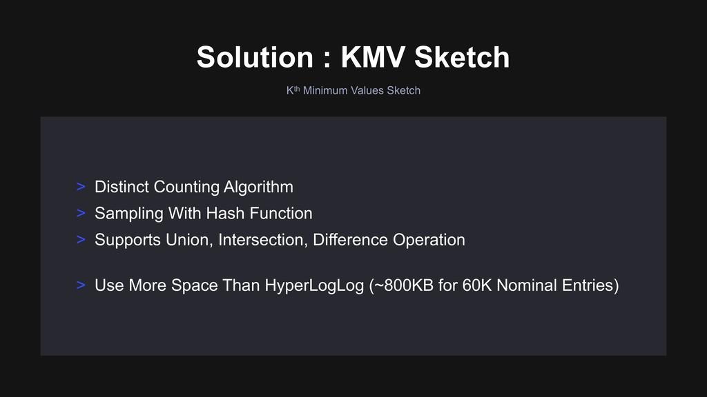 Kth Minimum Values Sketch Solution : KMV Sketch...