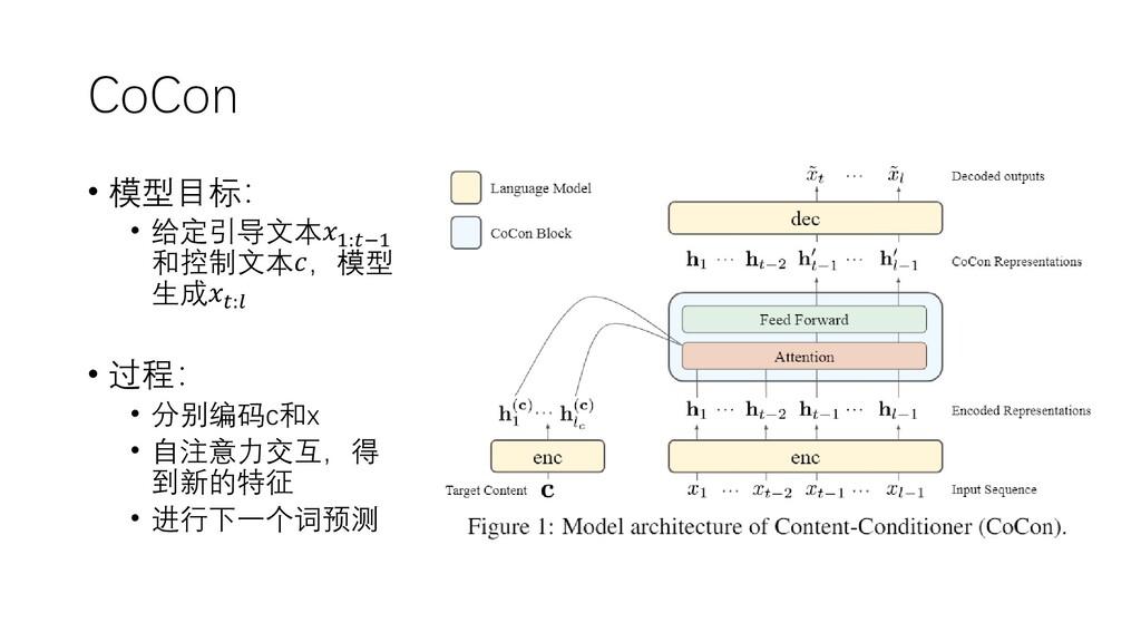 CoCon • 模型目标: • 给定引导文本1:−1 和控制文本,模型 生成: • 过程: •...