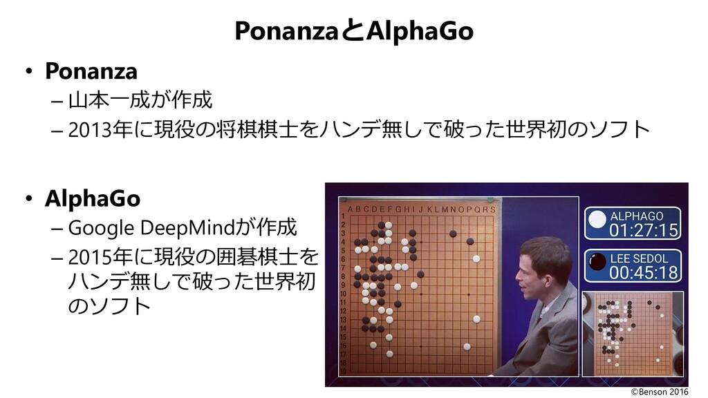 PonanzaとAlphaGo • Ponanza – 山本一成が作成 – 2013年に現役の...
