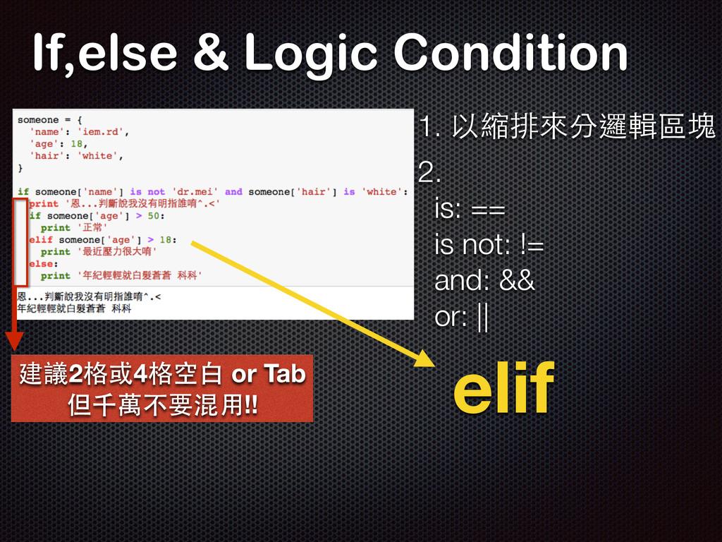 If,else & Logic Condition 1. 以縮排來分邏輯區塊 建議2格或4格空...