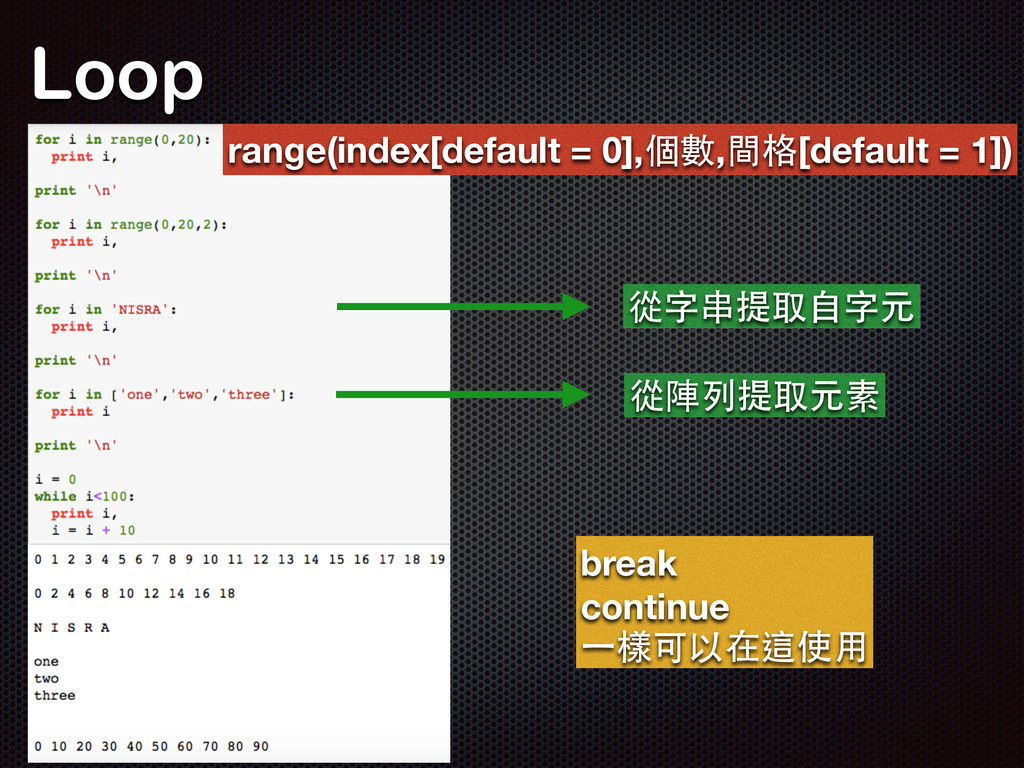 Loop range(index[default = 0],個數,間格[default = 1...