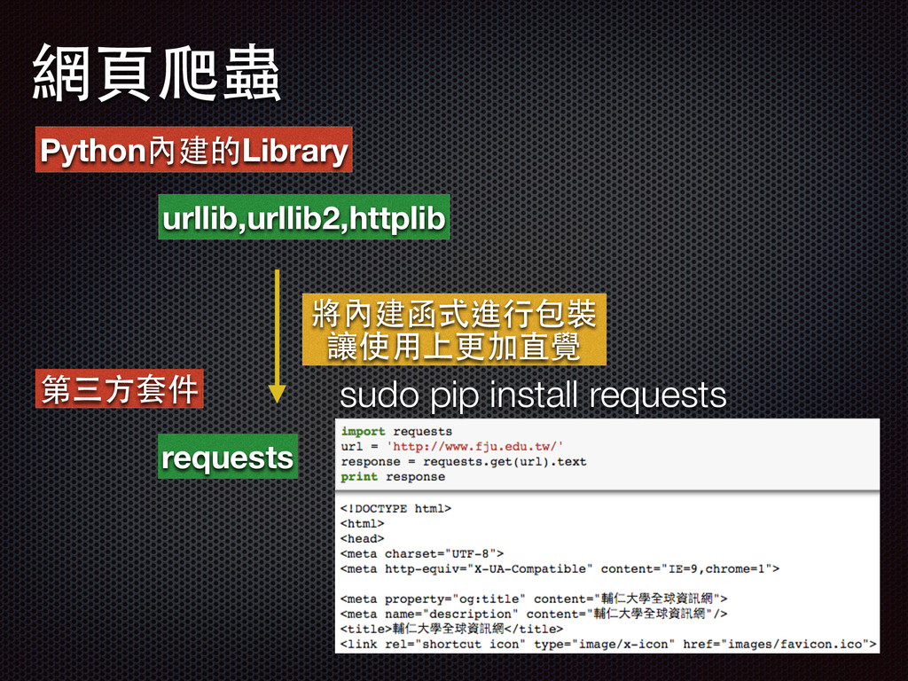 網⾴頁爬蟲 Python內建的Library urllib,urllib2,httplib 第...