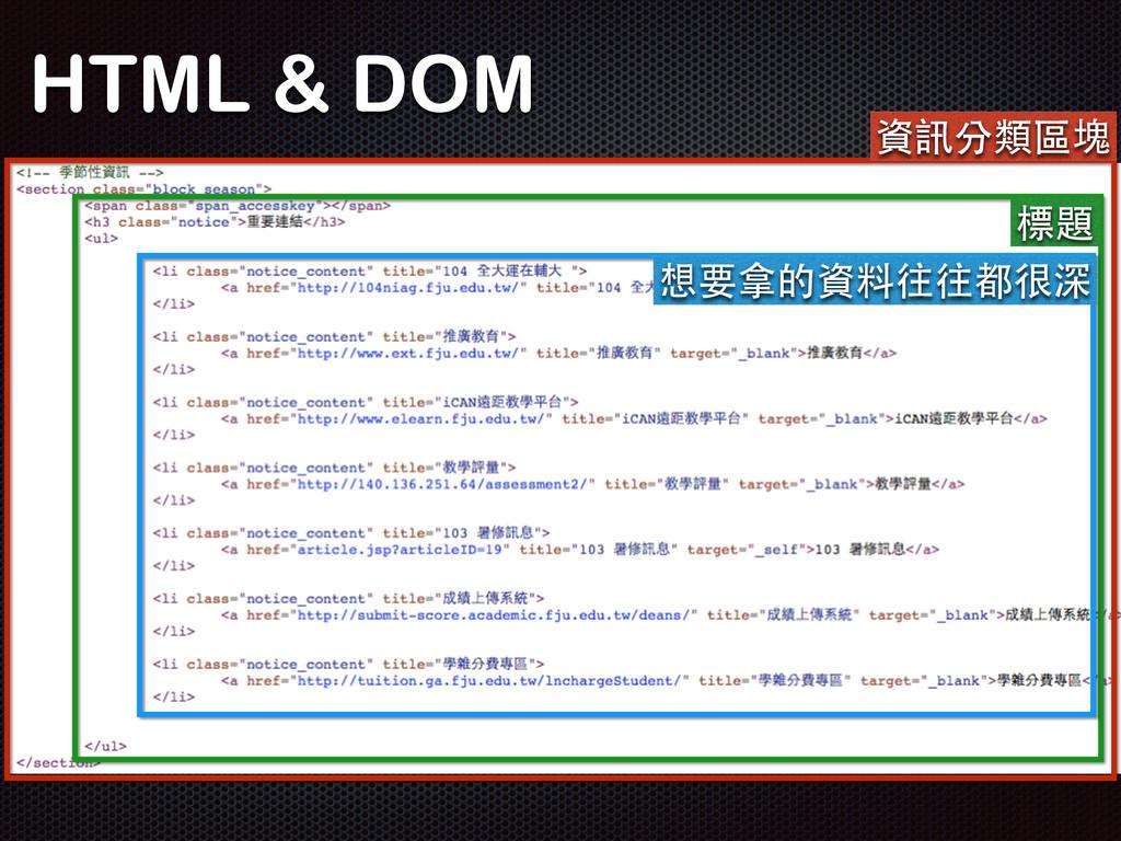 HTML & DOM 資訊分類區塊 標題 想要拿的資料往往都很深