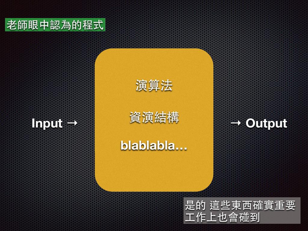 Input → ⽼老師眼中認為的程式 → Output 演算法 資演結構 blablabla…...