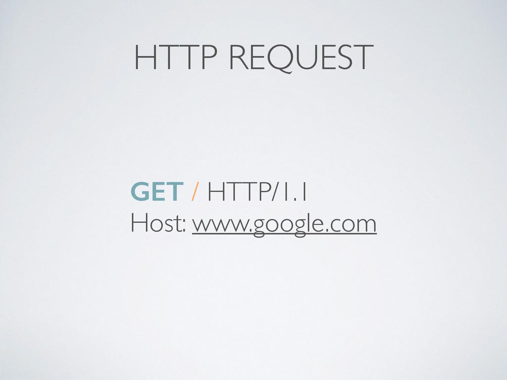 HTTP REQUEST GET / HTTP/1.1 Host: www.google.com