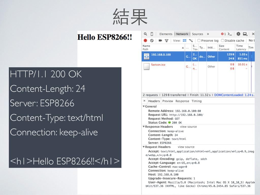 結果 HTTP/1.1 200 OK Content-Length: 24 Server: E...