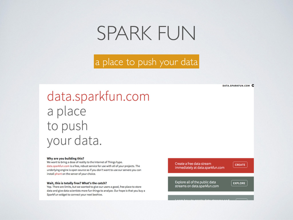 SPARK FUN a place to push your data
