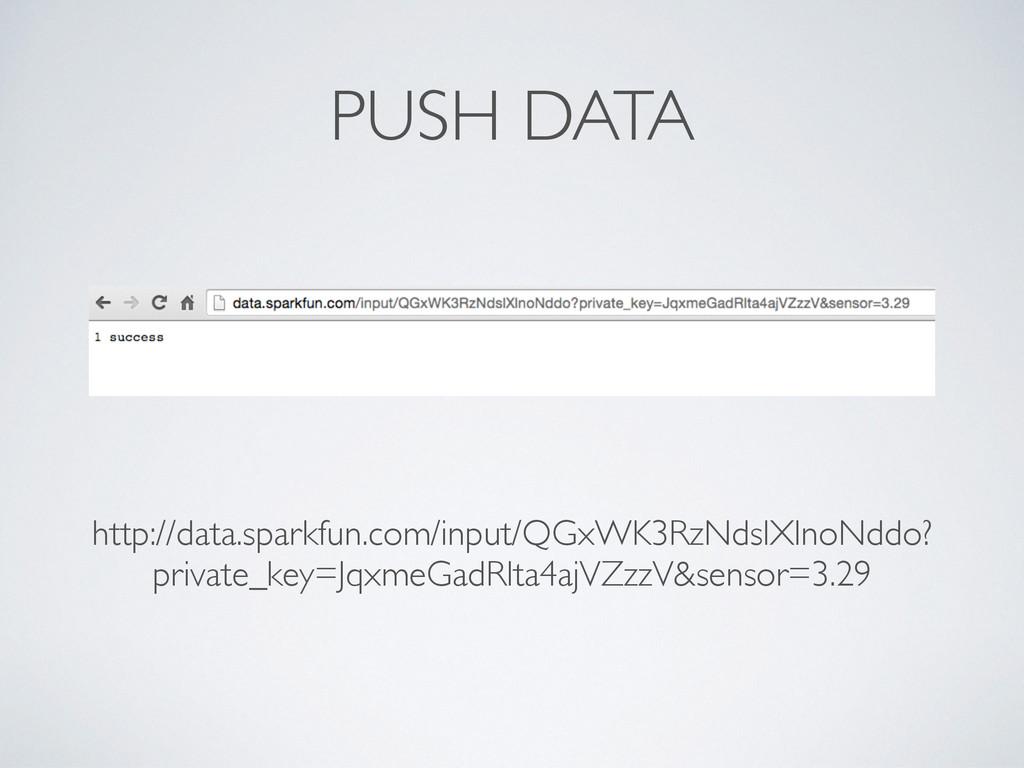 PUSH DATA http://data.sparkfun.com/input/QGxWK3...