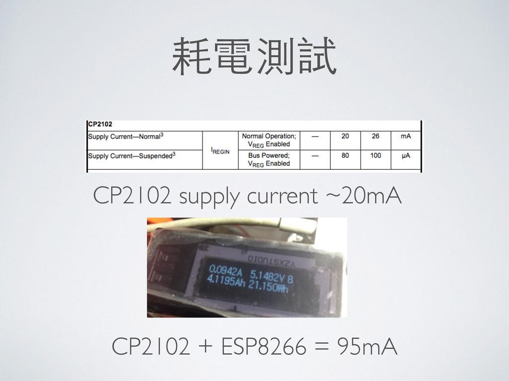 耗電測試 CP2102 supply current ~20mA CP2102 + ESP82...