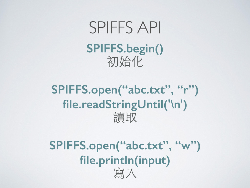 """SPIFFS API SPIFFS.begin() 初始化 SPIFFS.open(""""abc...."""