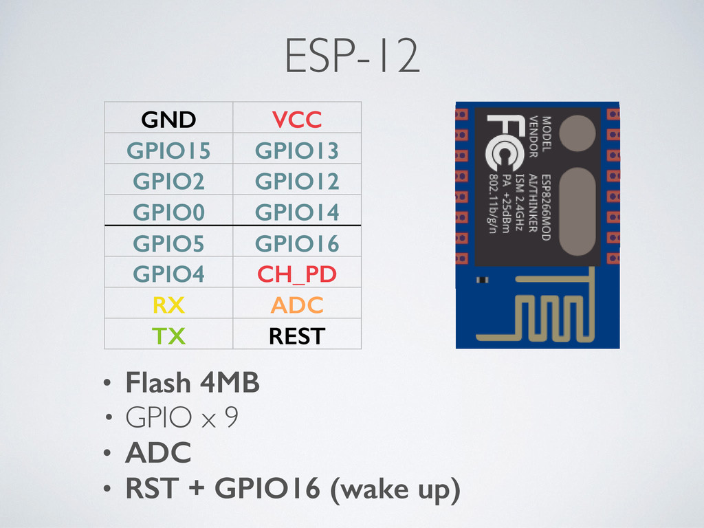 ESP-12 • Flash 4MB • GPIO x 9 • ADC • RST + GPI...