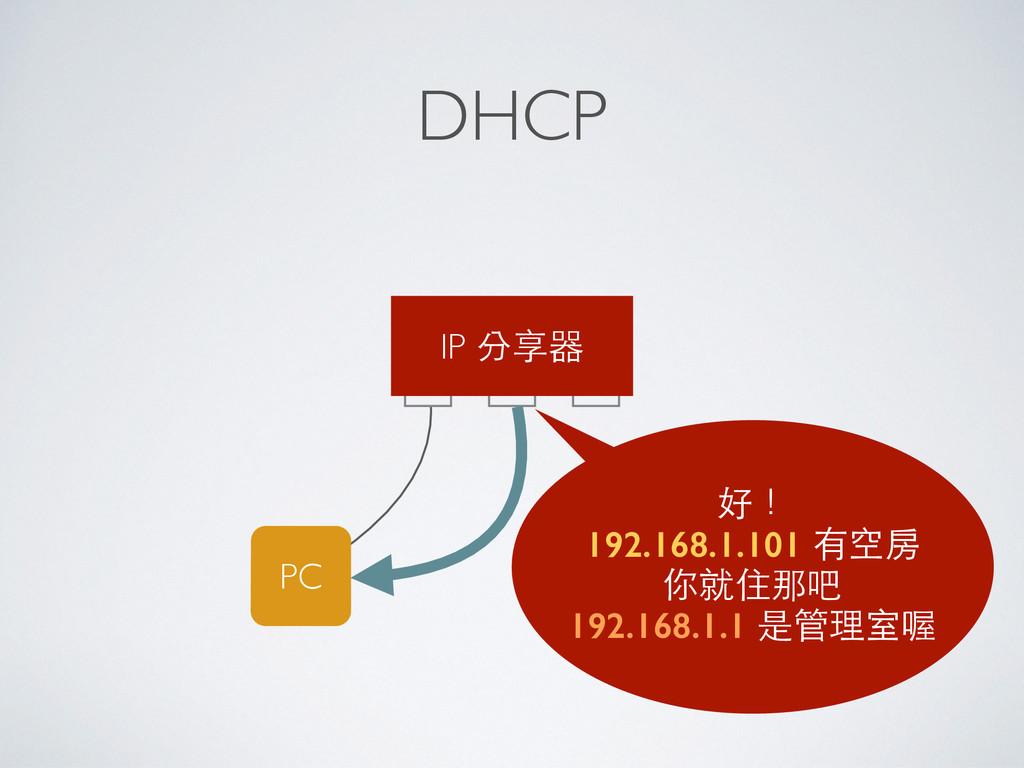 DHCP PC 好! 192.168.1.101 有空房 你就住那吧 192.168.1.1 ...