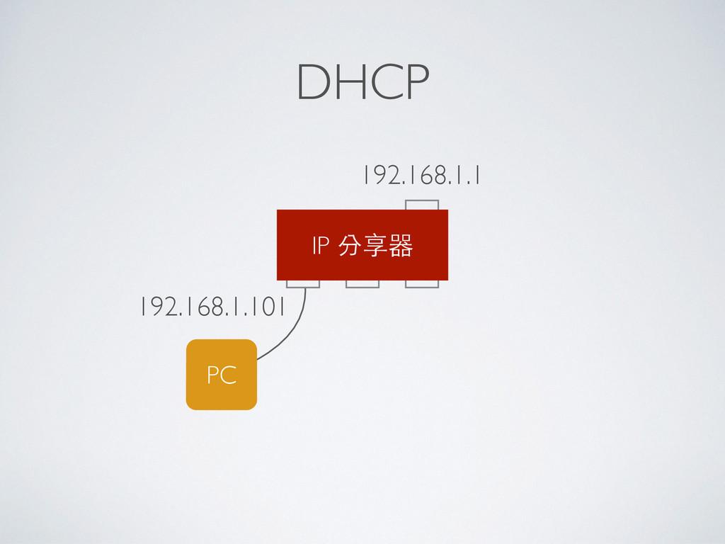 DHCP PC 192.168.1.101 IP 分享器 192.168.1.1