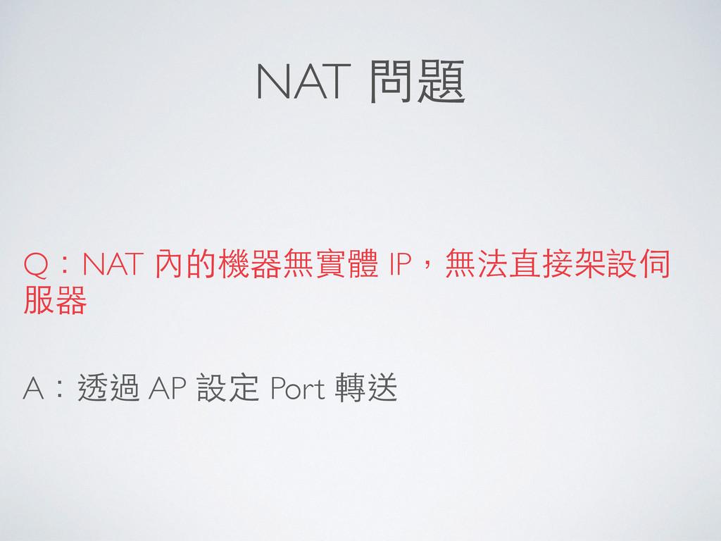NAT 問題 Q:NAT 內的機器無實體 IP,無法直接架設伺 服器 A:透過 AP 設定 P...
