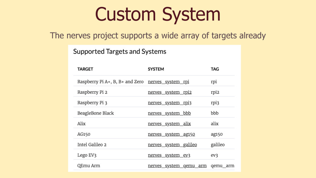Custom System The nerves project supports a wid...