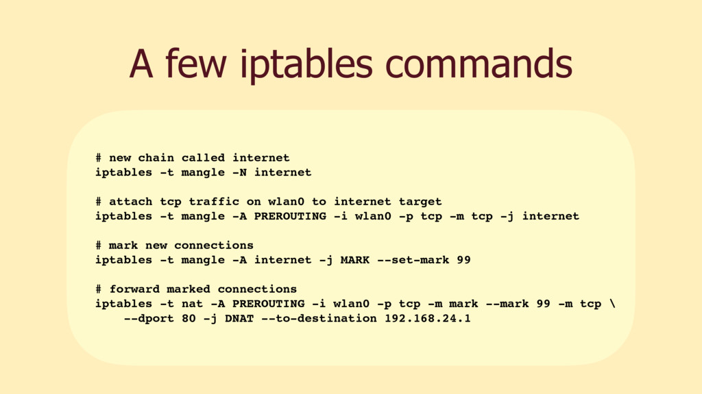 A few iptables commands # new chain called inte...