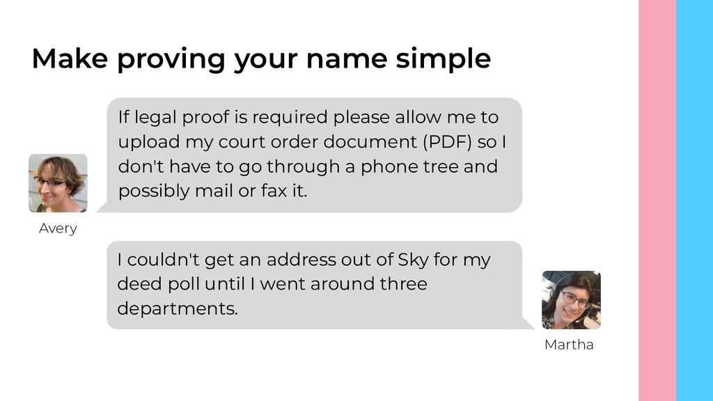 Make proving your name simple If legal proof is...