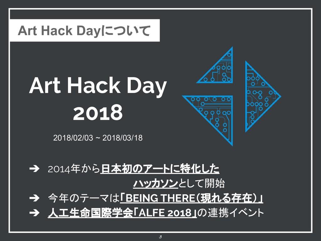 Art Hack Day 2018 3 2018/02/03 ~ 2018/03/18 ➔ 2...