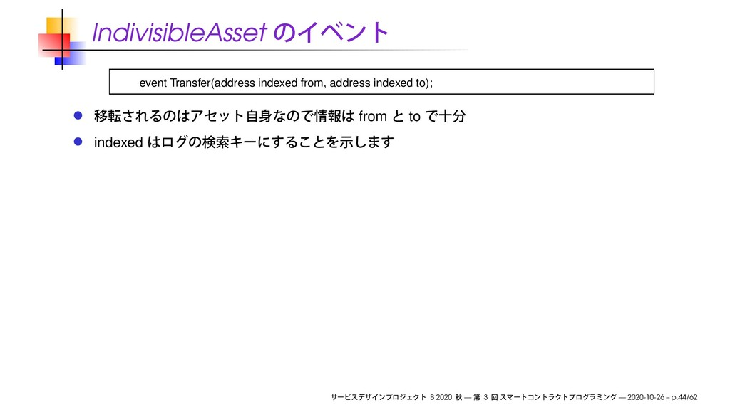 IndivisibleAsset event Transfer(address indexed...