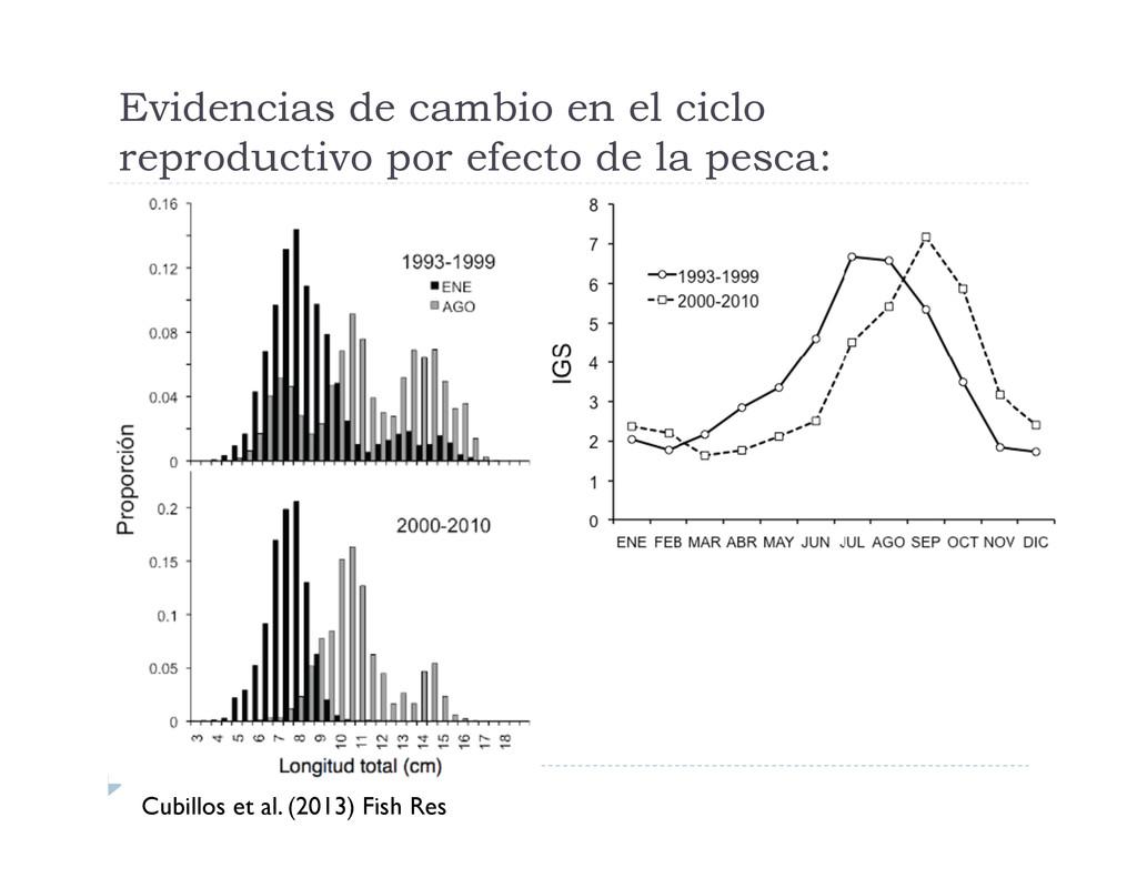 Evidencias de cambio en el ciclo reproductivo p...