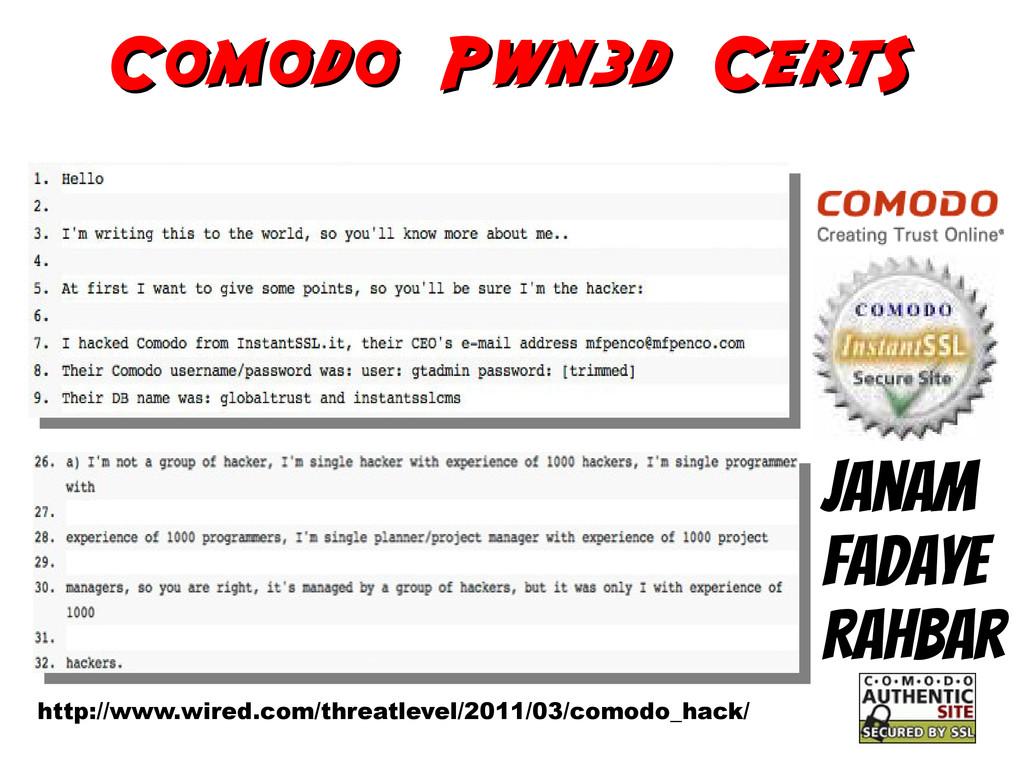 Comodo Pwn3d CertS Comodo Pwn3d CertS Janam Fad...