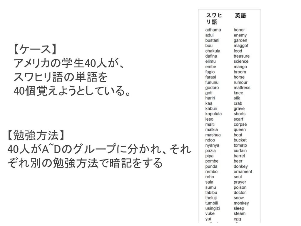 【勉強方法】 40人がA~Dのグループに分かれ、それ ぞれ別の勉強方法で暗記をする 【ケー...